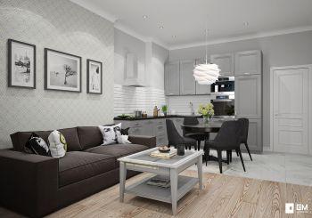 Дизайн трёхкомнатной квартиры в скандинавском стиле на Вавилова