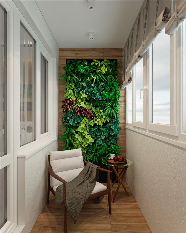 Дизайн интерьера квартиры с уютным балконом.