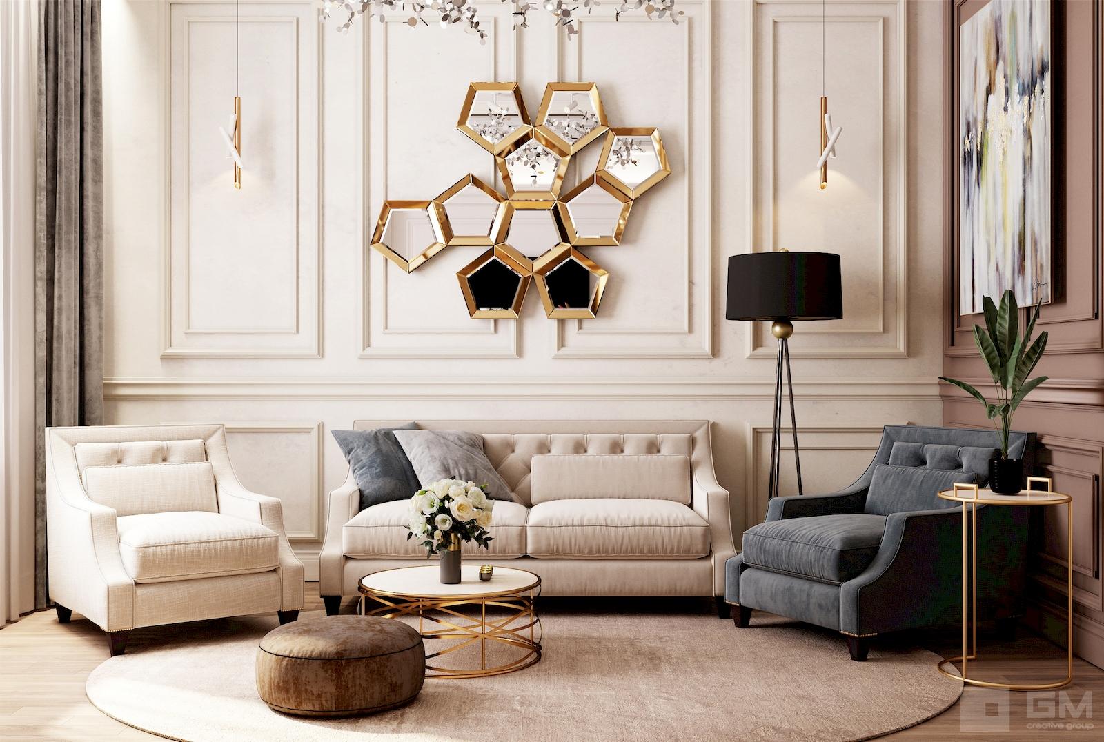 Дизайн квартиры в современной стилизации ар-деко от студии дизайна GM-INTERIOR