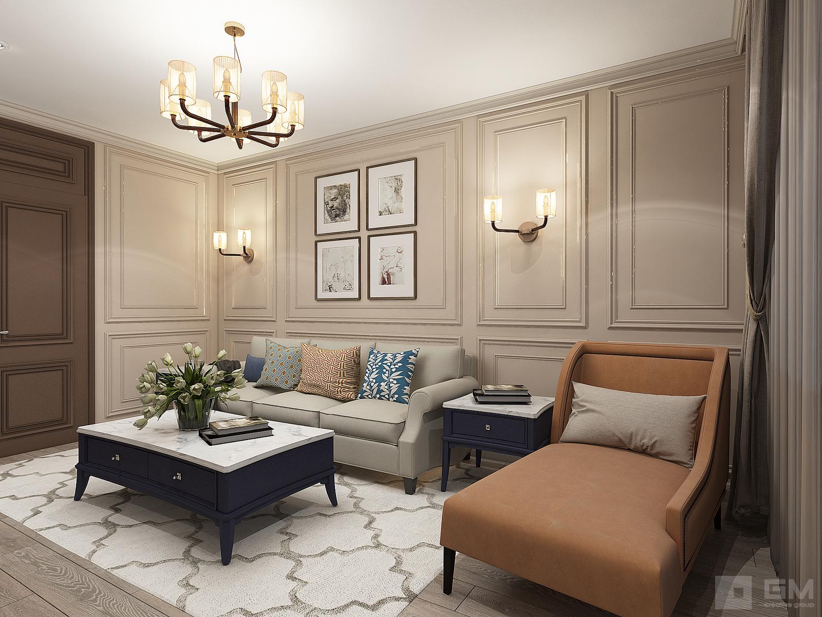 Интерьер квартиры площадью 60 кв.м., в стиле американская классика от студии дизайна интерьеров GM-Interior