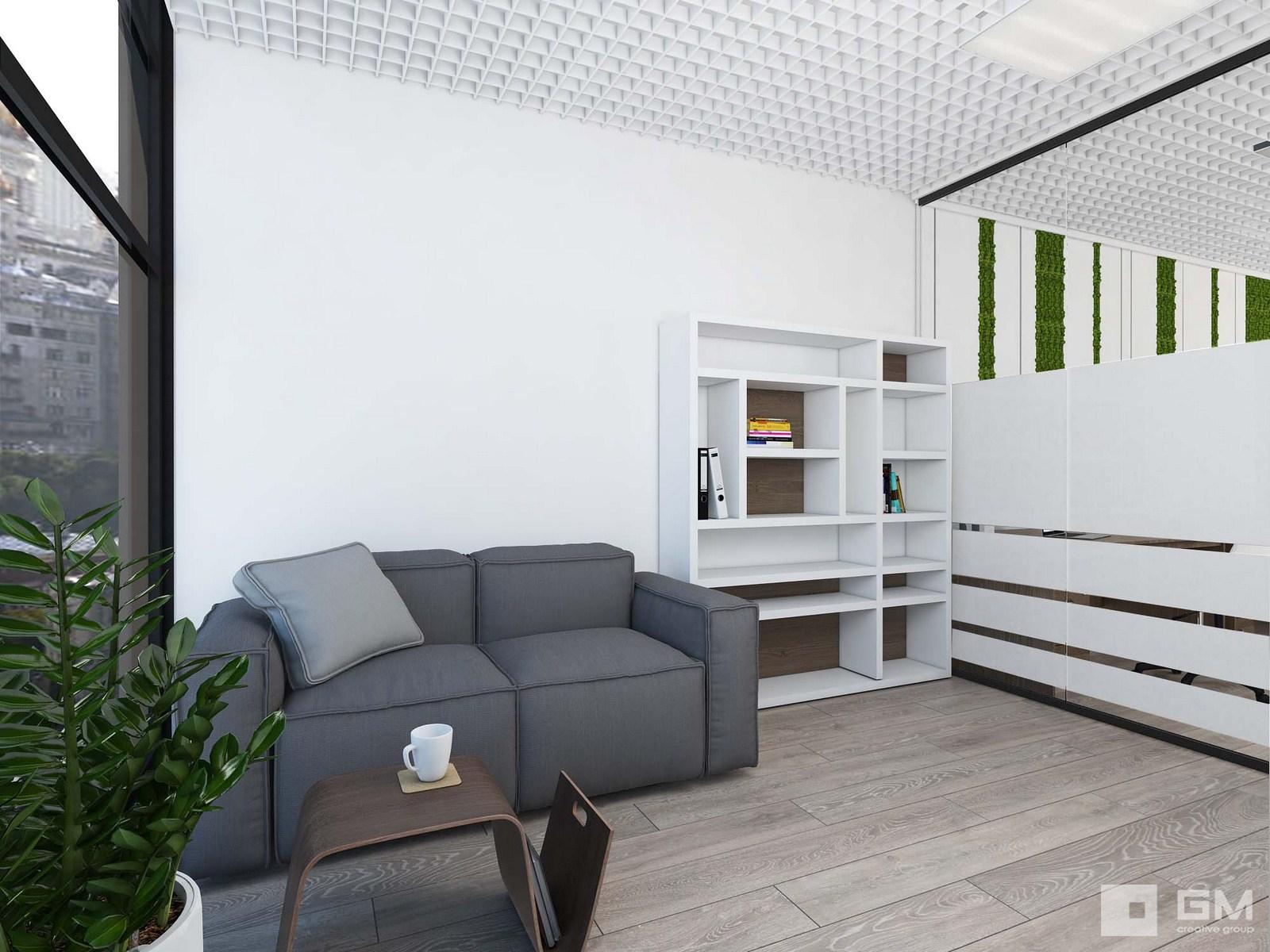 Дизайн офиса с грамотными планировочными решениями и подбором мебели. Красивый, светлый, современный интерьер офиса от студии дизайна Gm-interior