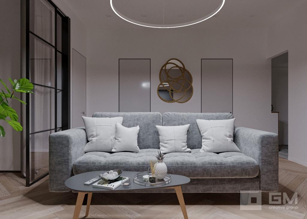 Дизайн двухкомнатной квартиры в ЖК Вандер Парк, гостиная
