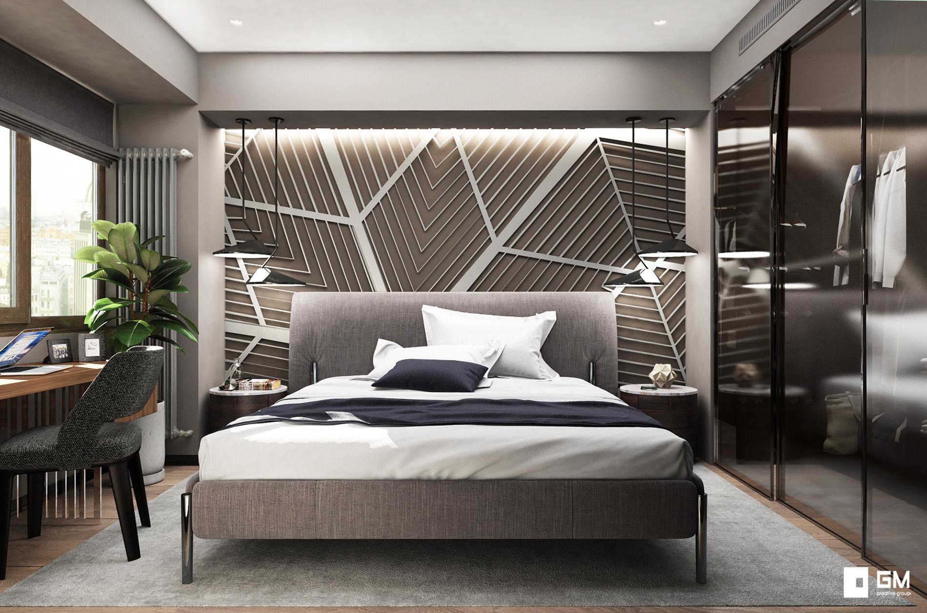 Дерзкий и уютный дизайн проект двухкомнатной квартиры на Ленинском проспекте от студии дизайна GM-Interior