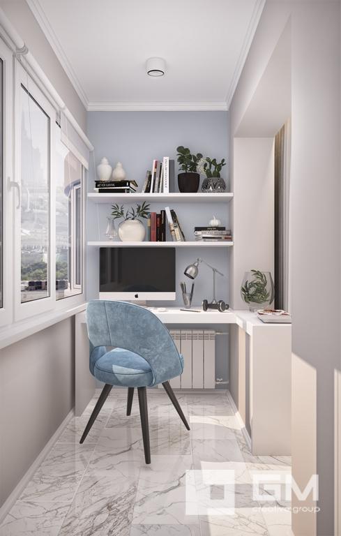 Гармоничный дизайн интерьера двухкомнатной квартиры в серо голубой гамме от студии дизайна GM-Interior