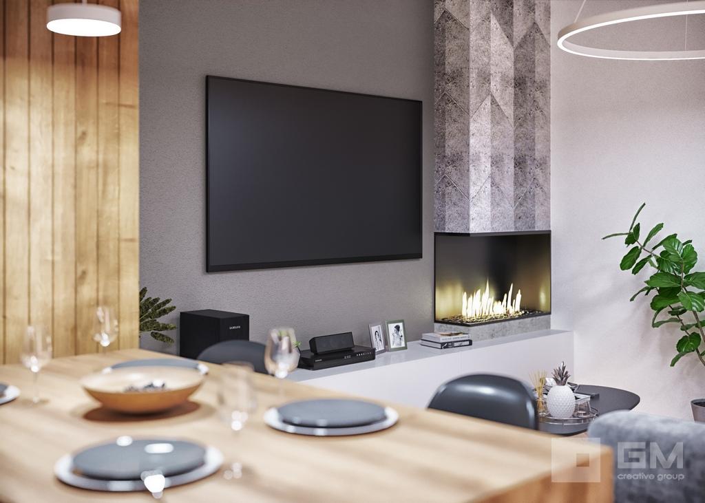 Дизайн двухкомнатной квартиры в ЖК Вандер Парк, кухня, гостиная