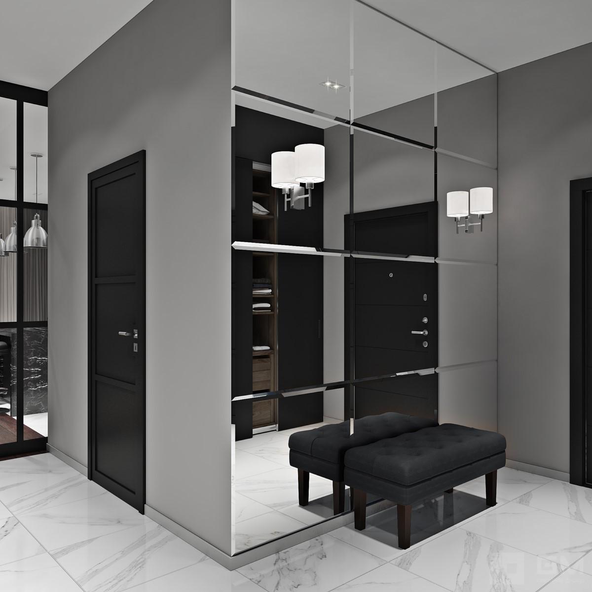 Стильный и брутальный дизайн квартиры в современном стиле от студии дизайна GM-Interior