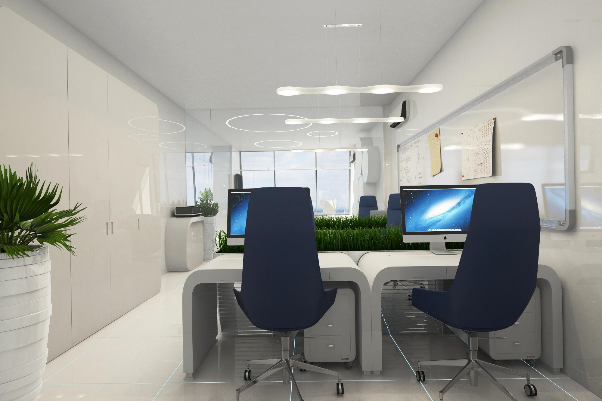 Футуристический дизайн офиса в Москва-Сити