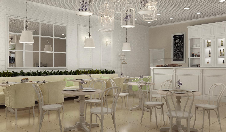 Дизайн проект интерьера кафе, стилизованный под «прованс», в торговом центре в г. Клин от студии дизайна GM-Interior