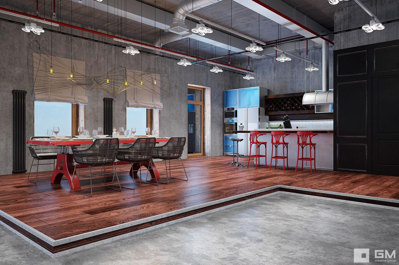 Проектирование и реализация интерьера апартаментов в стиле лофт от студии дизайна GM interior