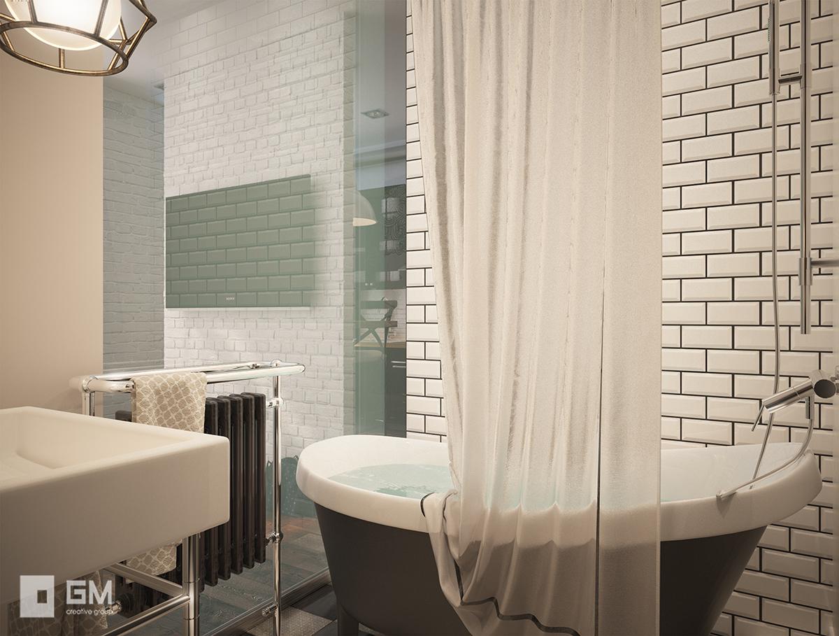 Квартира-студия в скандинавском стиле для молодой семейной пары от студии дизайна GM-Interior