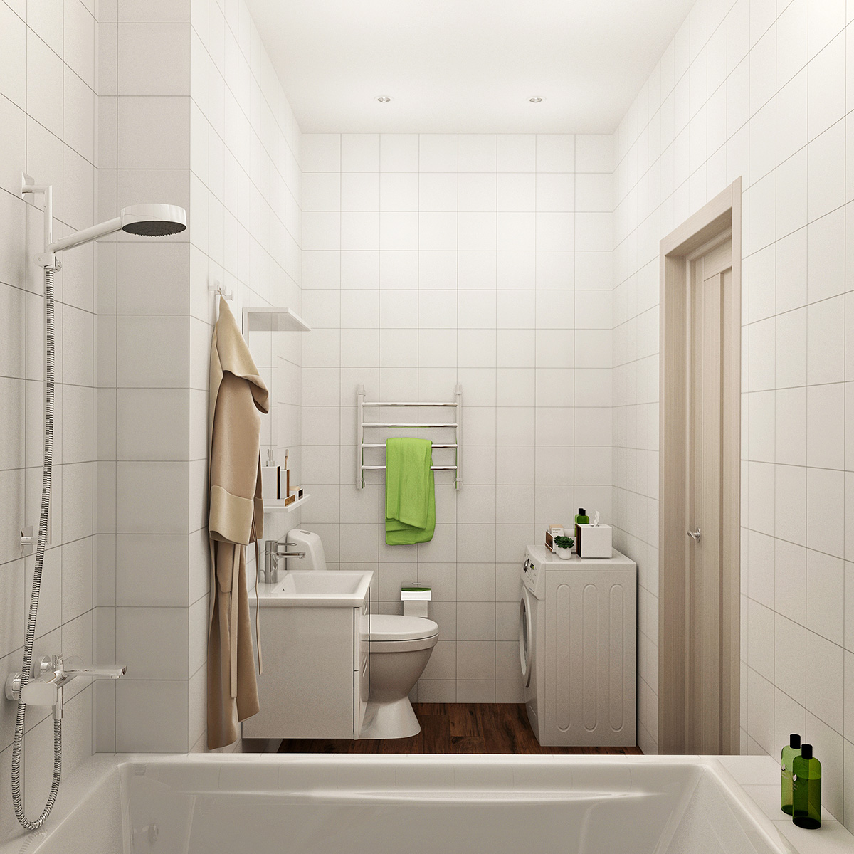 Удобный, современный стильный дизайн проект квартиры на площади 40м2 в ЖК Скай Сколково от студии дизайна GM-Interior.