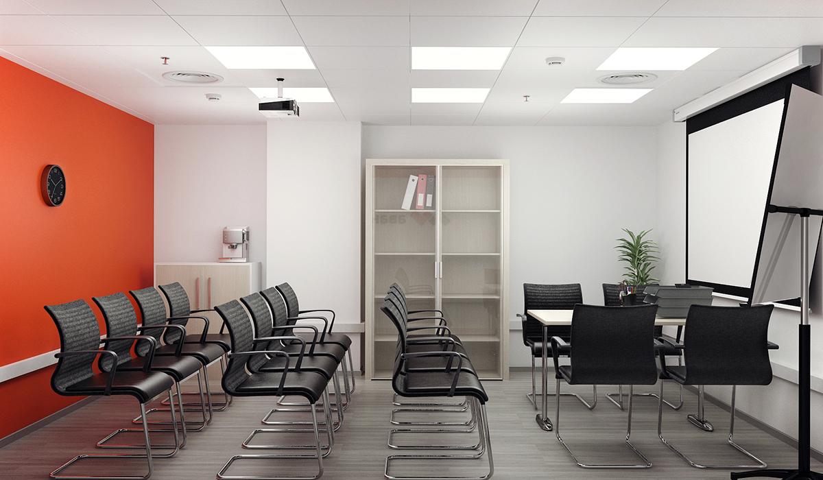 Дизайн офиса для крупного холдинга, с использованием корпоративных цветов от студии дизайна GM-Interior