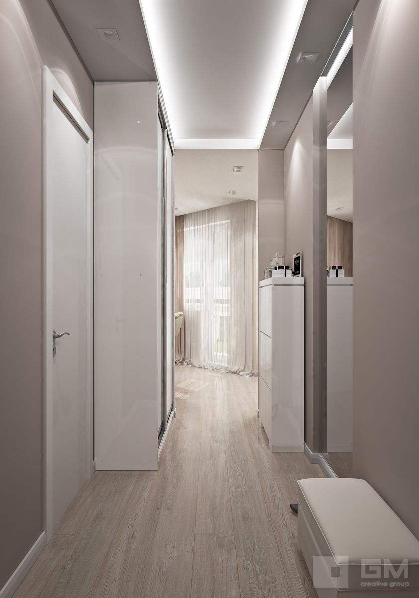 Дизайн проект двухкомнатной квартиры 50 кв. м в современном стиле для девушки