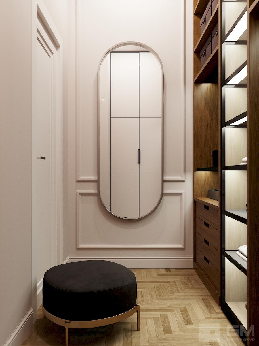 Интерьер трёхкомнатной квартиры с изумрудными акцентами в ЖК Счастье от студии дизайна GM-Interior