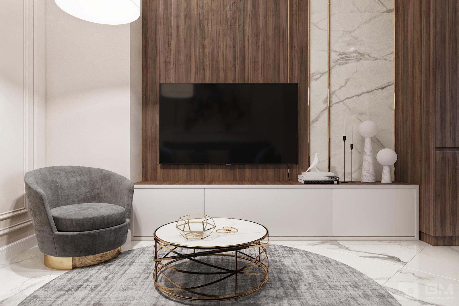 Стильный дизайн интерьера гостиной в таунхаусе в коттеджном поселке Кембридж от студии дизайна Gm-Interior