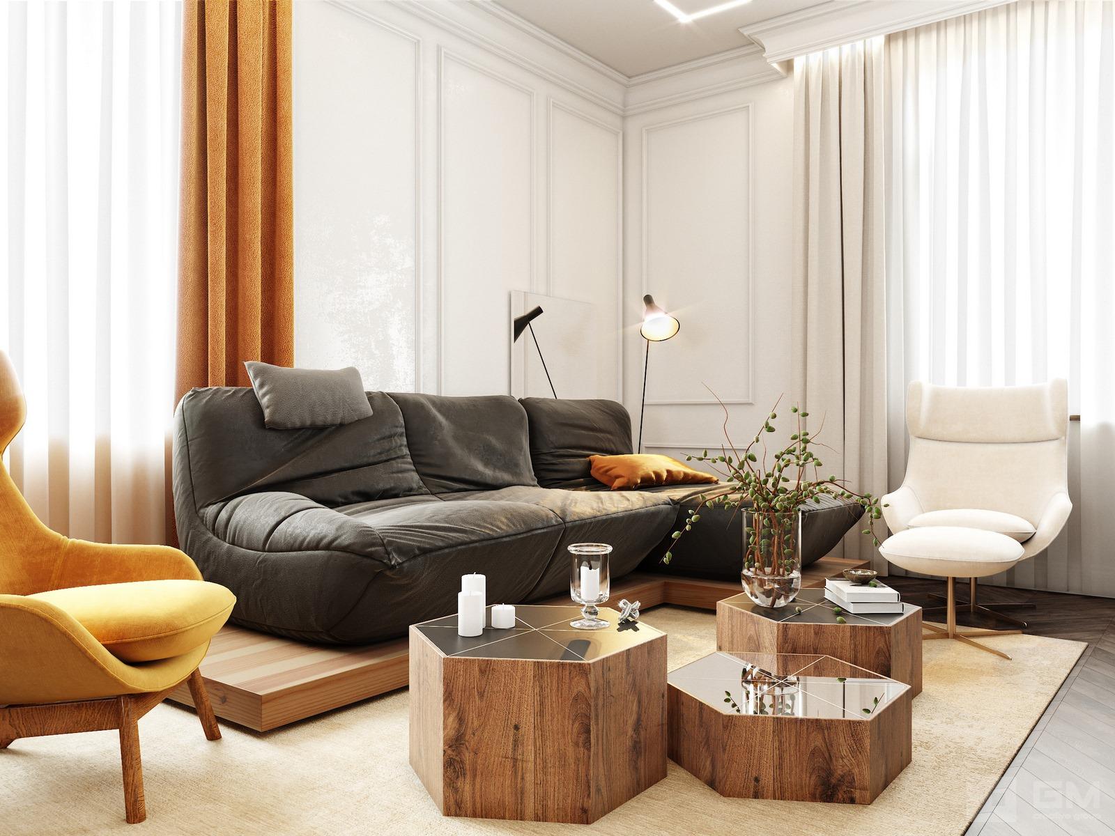 Уникальный дизайн дома в теплых и жизнерадостных тонах цветов шафрана от студии дизайна GM-INTERIOR