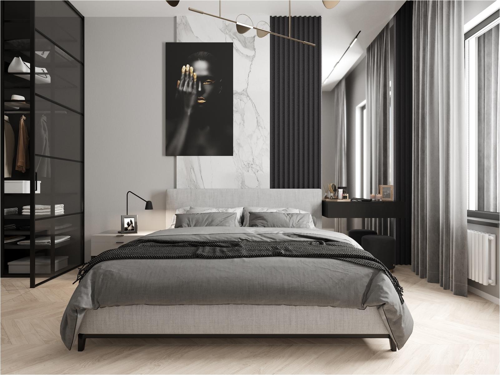 Дизайн проект квартиры в ЖК Символ. Уютный интерьер без буйства цвета, где мужская эстетика встречается с женским гламуром.