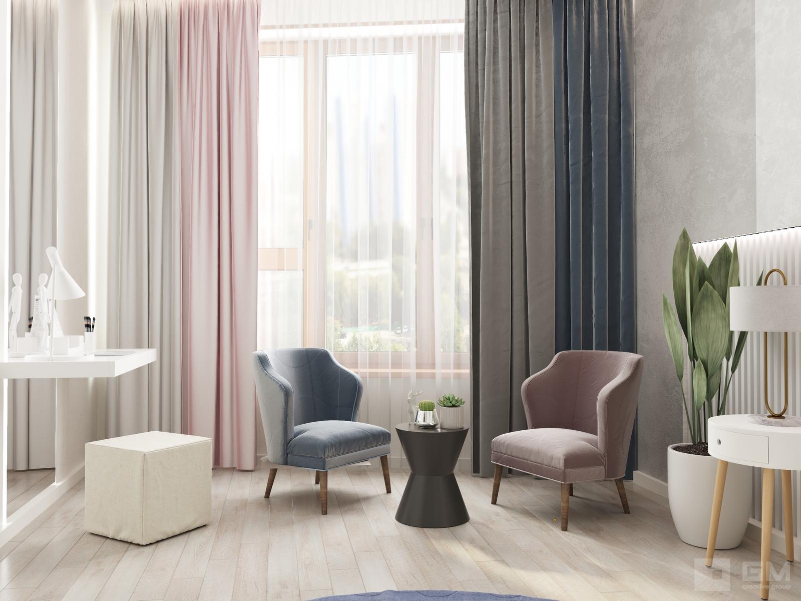 Дизайн двухкомнатной квартиры в ЖК Big Time (Биг Тайм)   Студия дизайна GM-INTERIOR