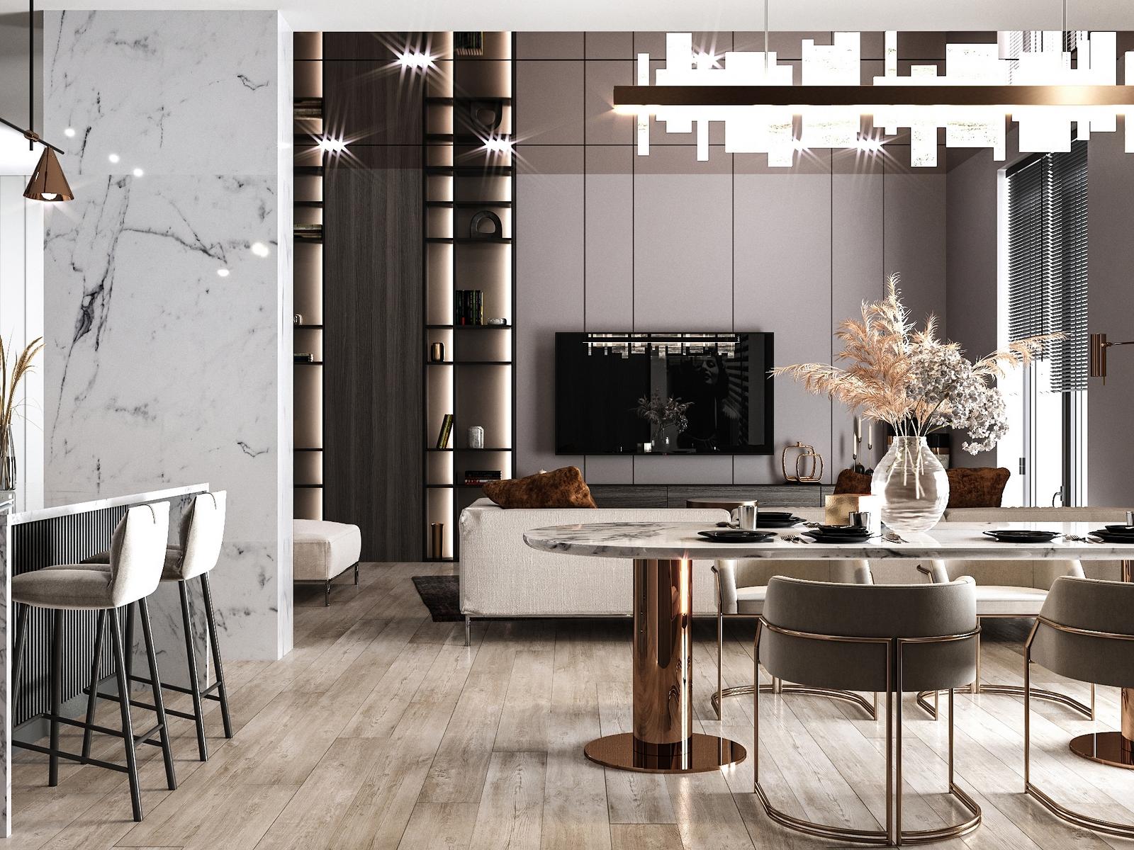 Современный интерьер в стиле ар-деко без лишней эксцентричности и замысловатых деталей от студии дизайна GM-INTERIOR